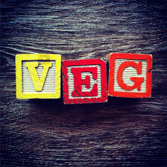 """VEG word done with alphabet wood blocks letters"" stock image"