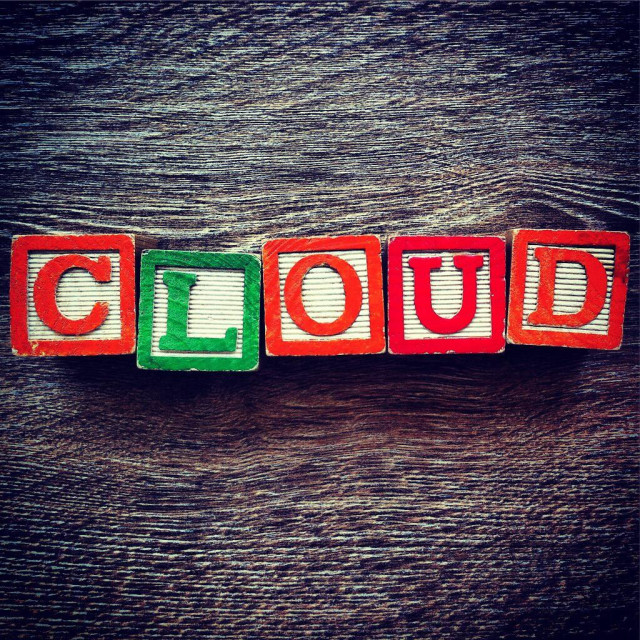 """""""CLOUD word done with alphabet wood blocks letters"""" stock image"""