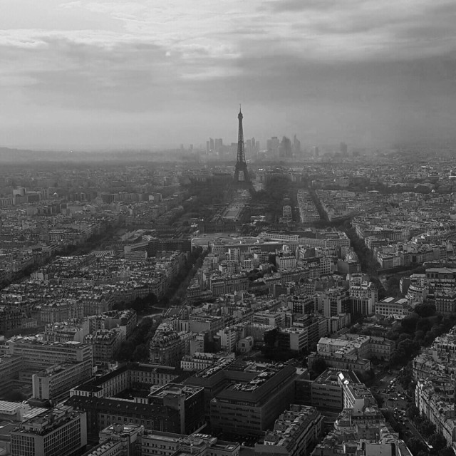 """""""The Eiffeltower seen from a tall building"""" stock image"""