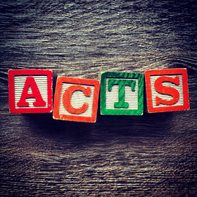 """""""ACTS word text done with wood blocks letters"""" stock image"""