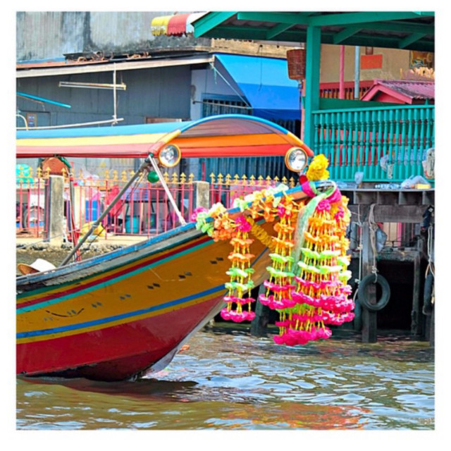 """Colourful longboat in Bangkok"" stock image"