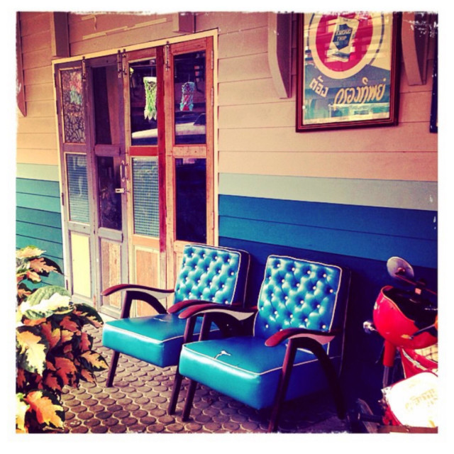 """Blue leather seats in Hua Hin"" stock image"
