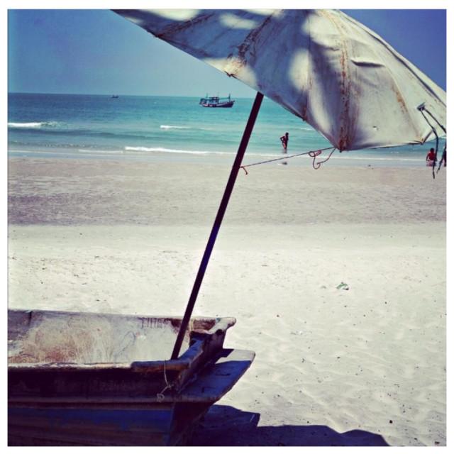 """""""Boat on beach, Hua Hin"""" stock image"""