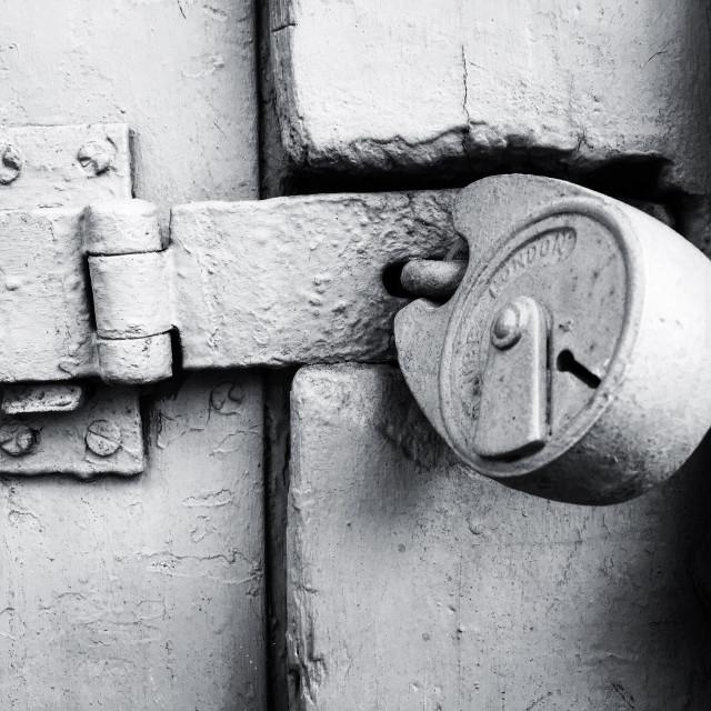 """Monochrome London lock."" stock image"