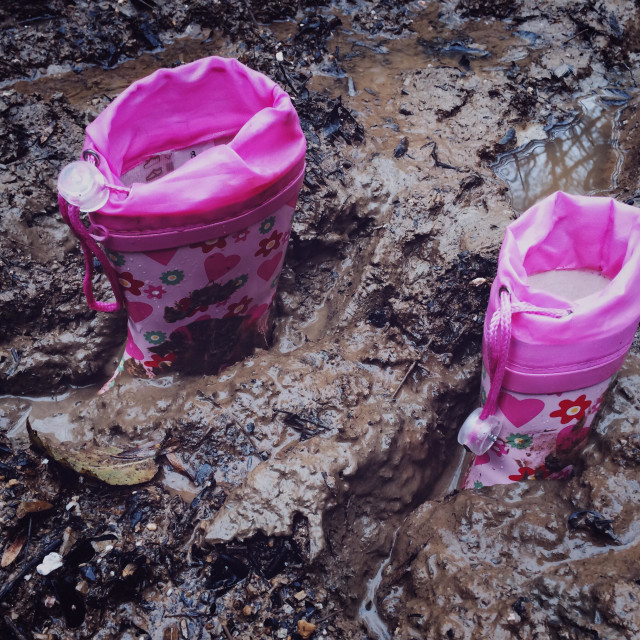"""""""Wellies stuck in the mud"""" stock image"""