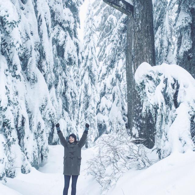 """Snowshoeing accomplishment"" stock image"