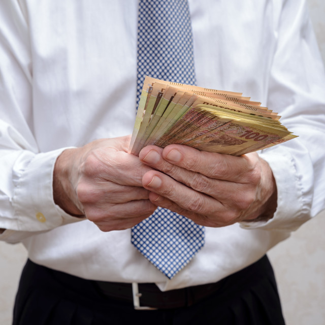 """""""Businessman, or politician, counting a Hryvnia banknotes bribe f"""" stock image"""