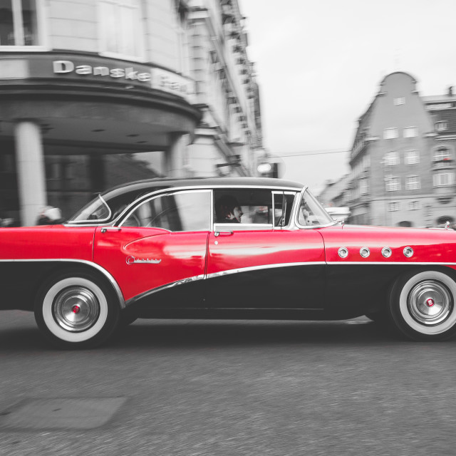 """""""American classic car in black and white and red."""" stock image"""