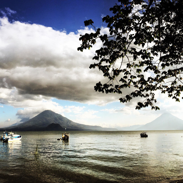 """""""Volcanoes at sunset, Lake Atitlan, Guatemala"""" stock image"""