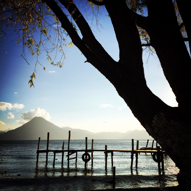 """Volcano at sunset, Lake Atitlan, Guatemala"" stock image"