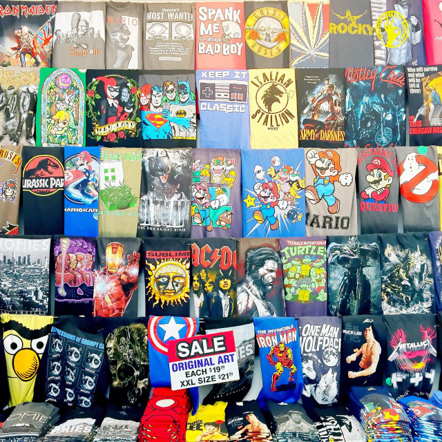 """""""Shirts for sale at a gift shop in Hollywood, California."""" stock image"""