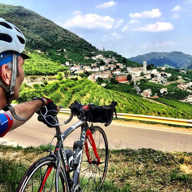 """Cycle Touring the Prosecco Wine Road"" stock image"