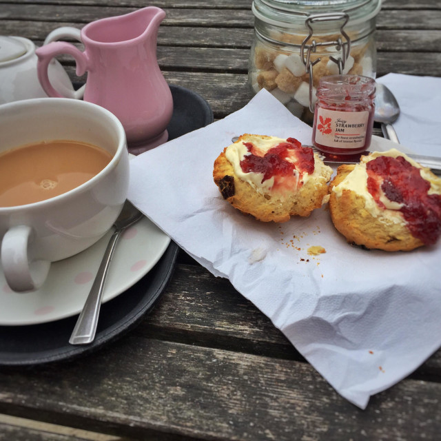 """Cream tea at Sheffield park national trust"" stock image"
