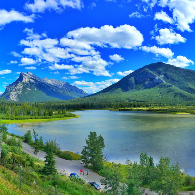 """Vermillion Lakes, Mount Rundle and Sulphur Mountain in Banff National Park, Alberta, Canada"" stock image"