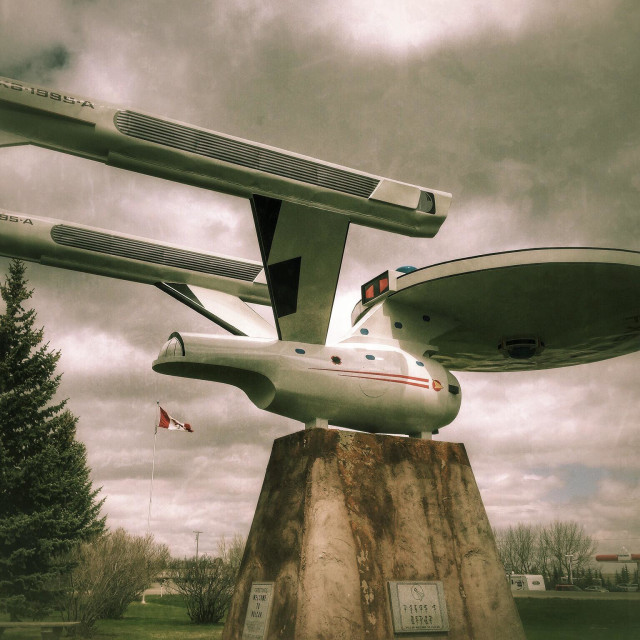 """A model of Star Trek's USS Enterprise stands in the town of Vulcan, Alberta, Canada."" stock image"