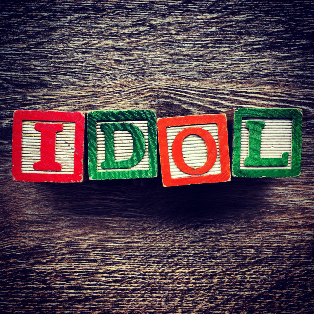 """""""IDOL word written with wood block letter toys"""" stock image"""