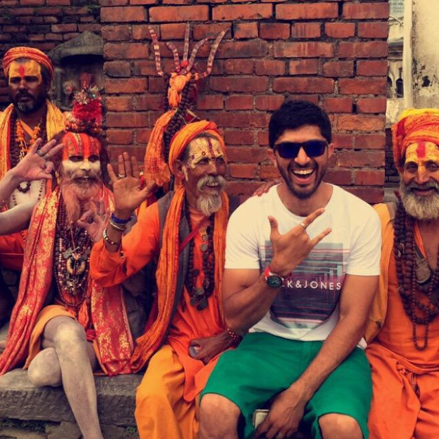 """At pashupari nath with aghori babas !!! Look at em posing ??"" stock image"