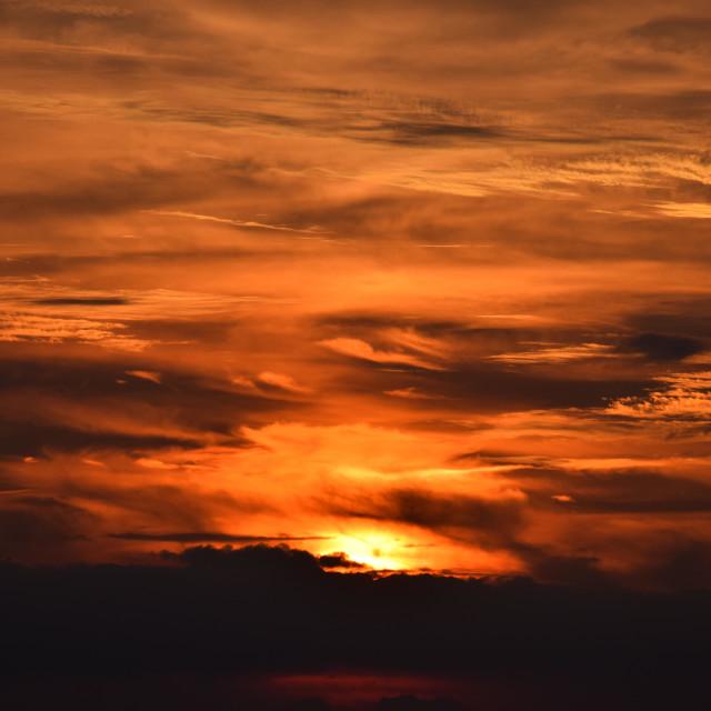 """Smoldering Fiery Sunset"" stock image"