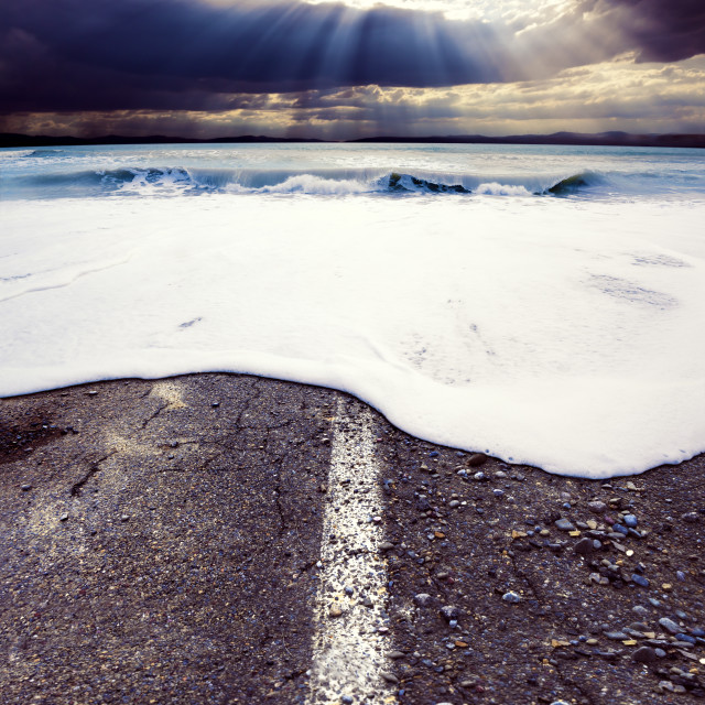 """""""Road and sea.Sea storm concept"""" stock image"""