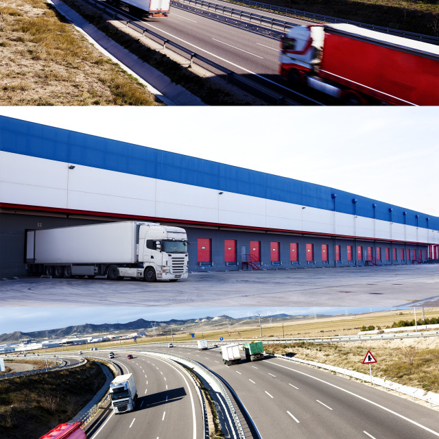 """""""Design road and traffic. Delivering commodity."""" stock image"""