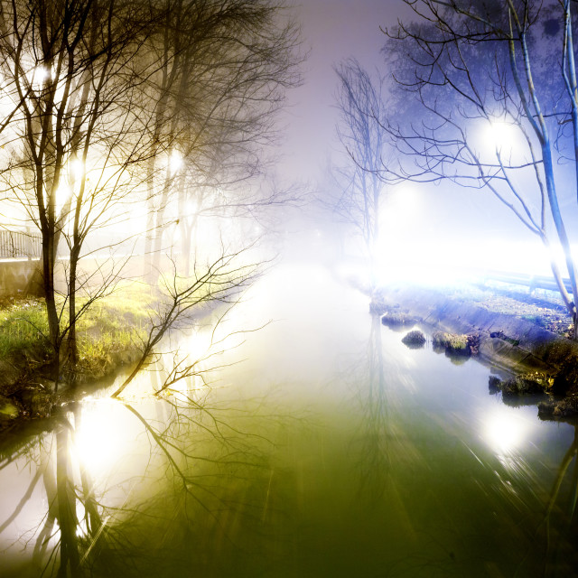 """""""Night cityscape and water channel"""" stock image"""