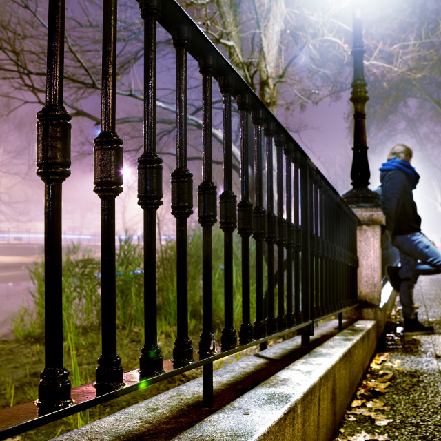 """""""night cityscape and lonely man"""" stock image"""