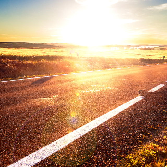 """""""Road trip concept and sunset"""" stock image"""