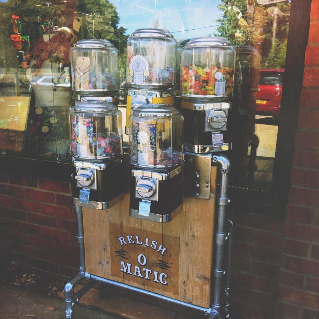 """Sweet and novelty capsules vending machine."" stock image"