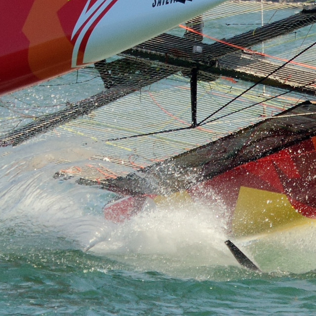 """GC32 Foiling Racing Catamaran on Sydney Harbour"" stock image"