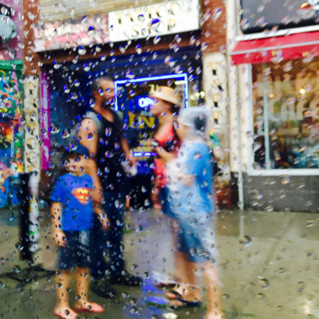 """Family in the rain"" stock image"