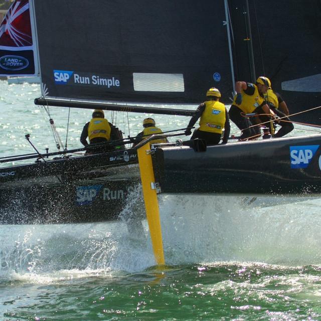 """GC32 Racing Catamaran SAP Extreme on Sydney Harbour"" stock image"