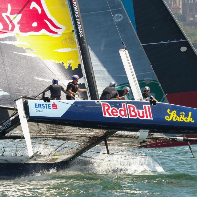 """GC32 Foiling Racing Catamaran on Sydney Harbour"" stock image"