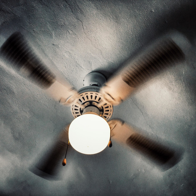 """""""Ceiling fan with light, on"""" stock image"""
