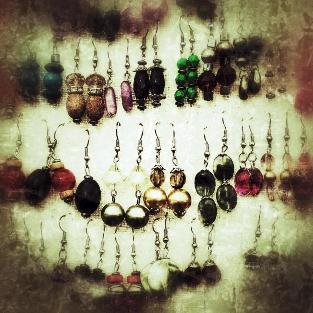 """""""Earring display on a market stall in Spain"""" stock image"""
