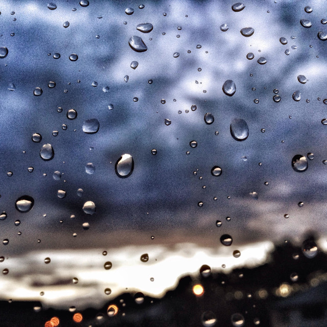 """""""Sunset from a rainy window"""" stock image"""