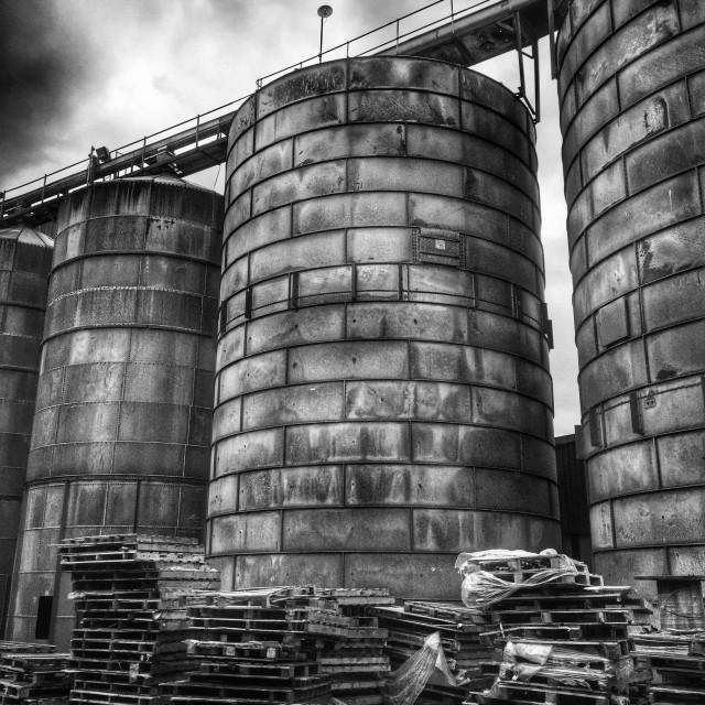 """Disused grain silos"" stock image"