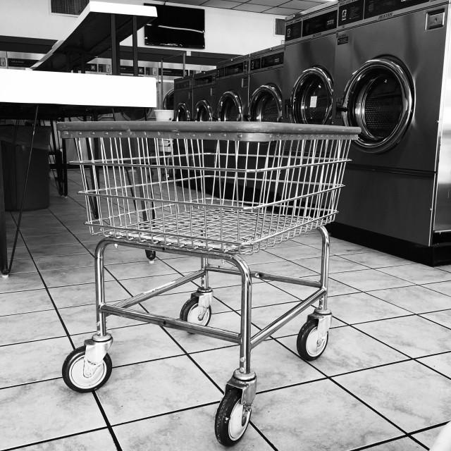 """Laundry cart it laundromat."" stock image"