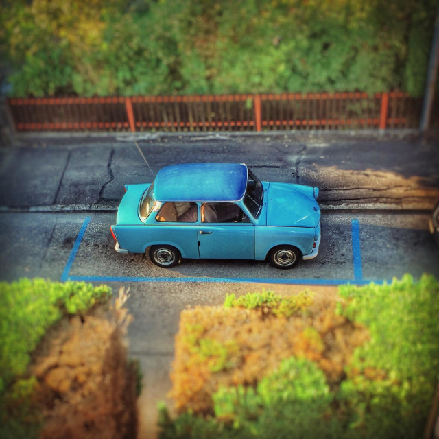 """Vintage East German Trabant car, viewed from above"" stock image"