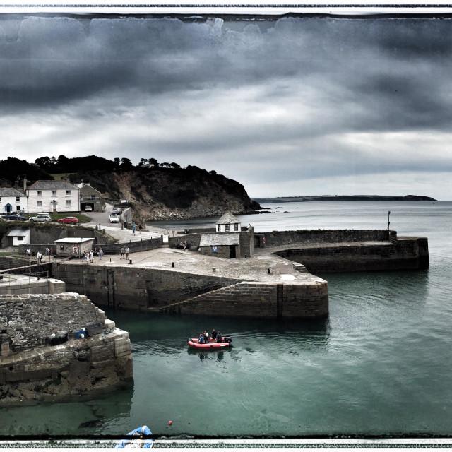 """Panoramic view of Charlestown harbour Cornwall"" stock image"