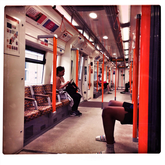 """Travelling on London Overground transport"" stock image"