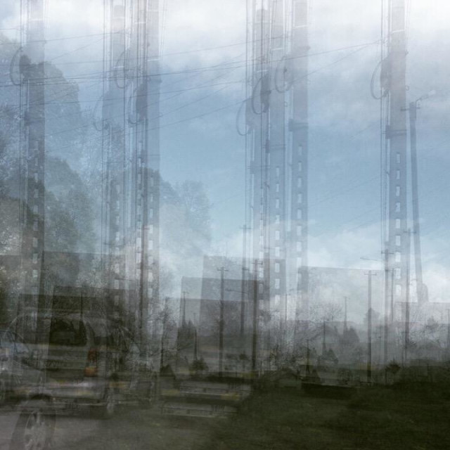 """Industrial double exposure"" stock image"
