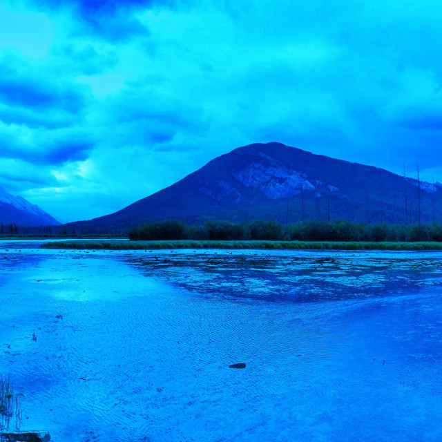 """""""Shades of blue. Vermillion Lakes with a view of Mt. Rundle and Sulphur Mountain"""" stock image"""