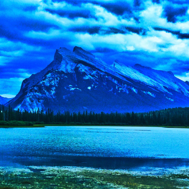 """Shades of blue, Mt. Rundle and Vermillion Lakes. Banff Park, Alberta, Canada"" stock image"