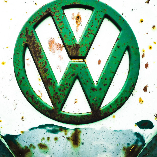 """Marked VW sign on from of a van"" stock image"