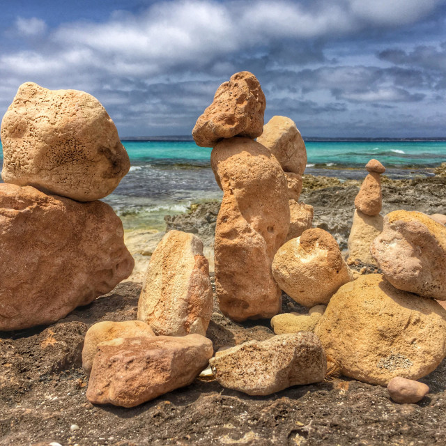 """Stone cairns on a beach in Formentera"" stock image"