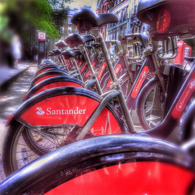 """""""London Santander cycles"""" stock image"""