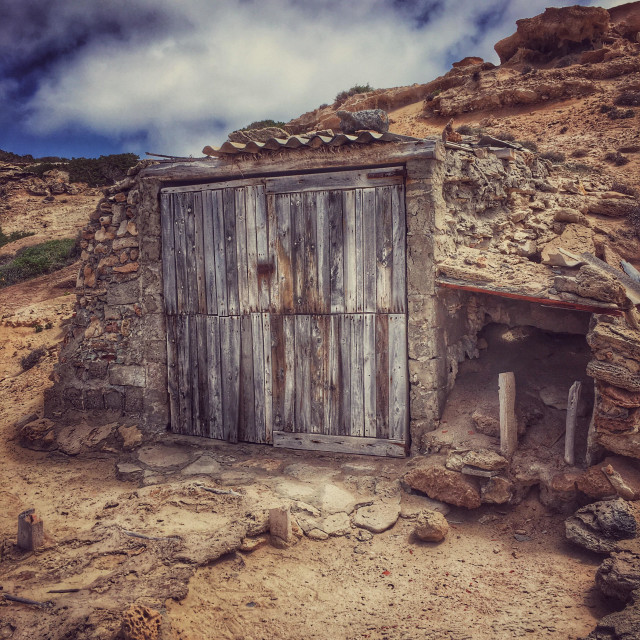 """Disused boat shed Formentera"" stock image"