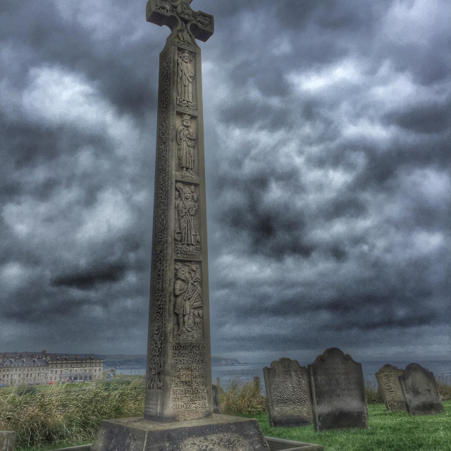"""Caedmon's cross in churchyard of St Mary's Church, Whitby, North Yorkshire, England."" stock image"