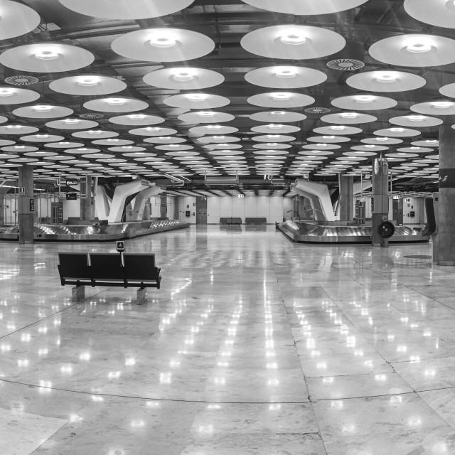 """Madrid airport baggage claim lounge"" stock image"