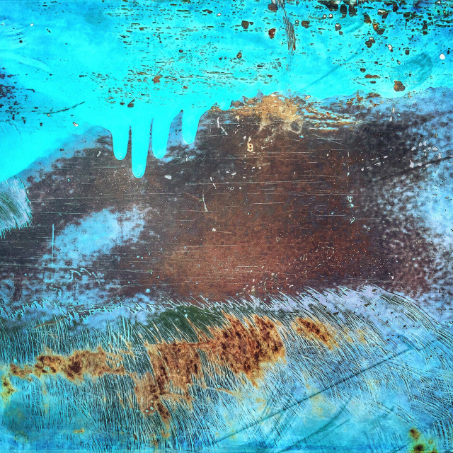 """Abstract details of rusted paint on old Dodge truck."" stock image"